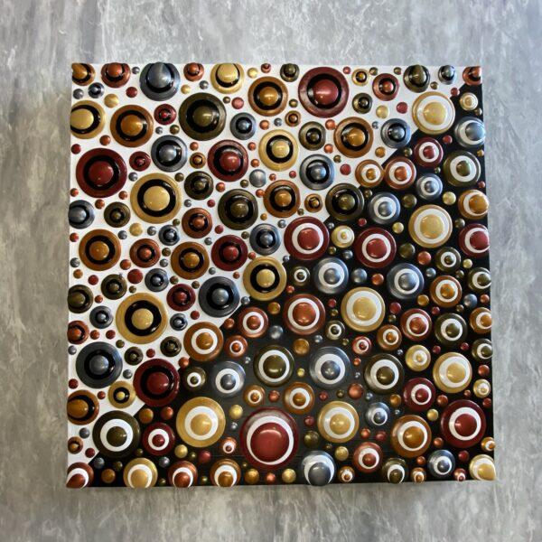 Dot Art; Metallics Galore on Large Wood Canvas