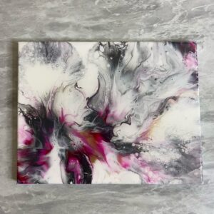 Pinks & Metallics Abstract Pour Painting