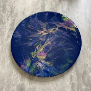 Pastels on Navy Blue Round Abstract Pour Painting